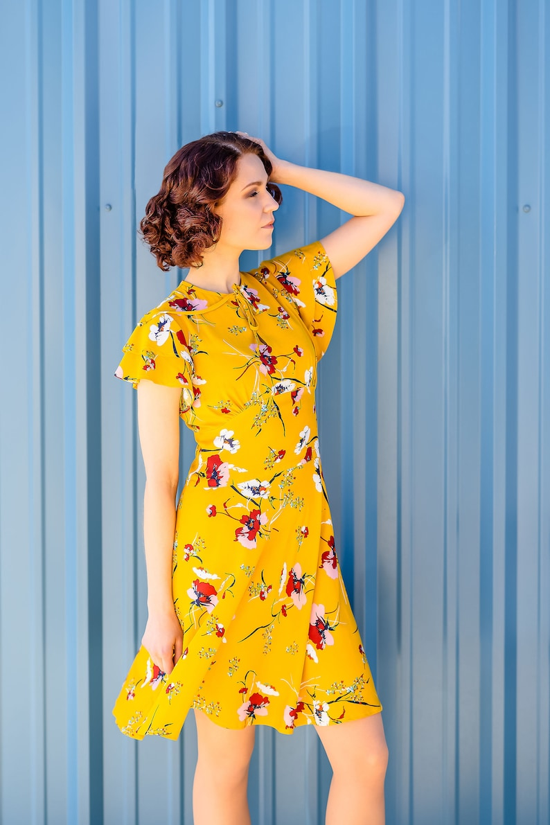 1930s Dresses | 30s Art Deco Dress Vintage 30s style dress with flutter sleeves in mustard yellow rayon size US 4 $174.00 AT vintagedancer.com