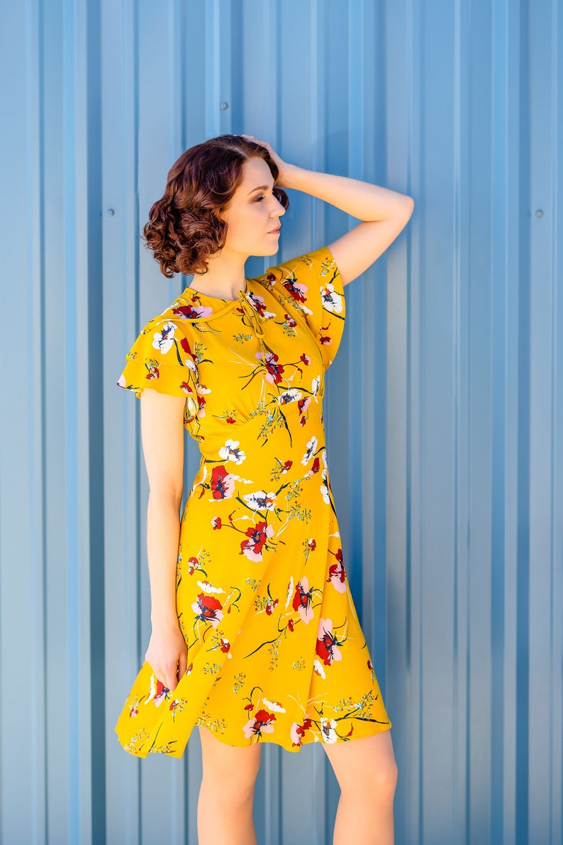 500 Vintage Style Dresses for Sale | Vintage Inspired Dresses Vintage 30s style dress with flutter sleeves in mustard yellow rayon size US 4 $174.00 AT vintagedancer.com