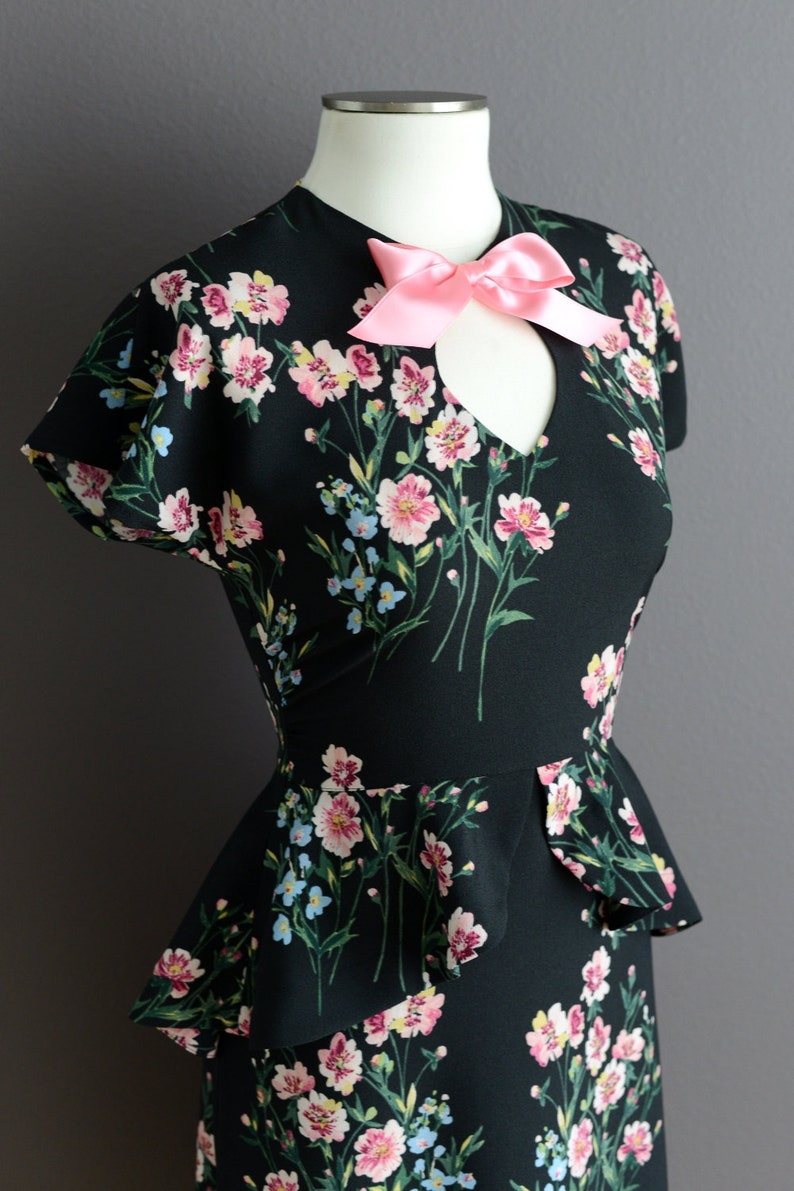1940s Fashion Advice for Short Women 40s vintage style peplum dress in black crepe with large flowers made to order sizes US 0-22 $156.00 AT vintagedancer.com