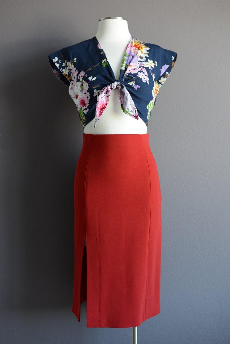 emerald green High-waist pencil skirt with a front split size XS