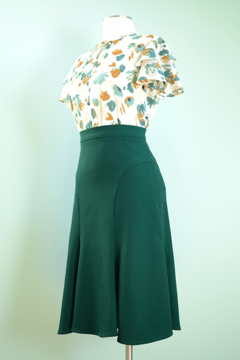 1930s Style Skirts : Midi Skirts, Tea Length, Pleated 30s style trumpet skirt in dark emerald green sizes US 0 to 22 $72.00 AT vintagedancer.com