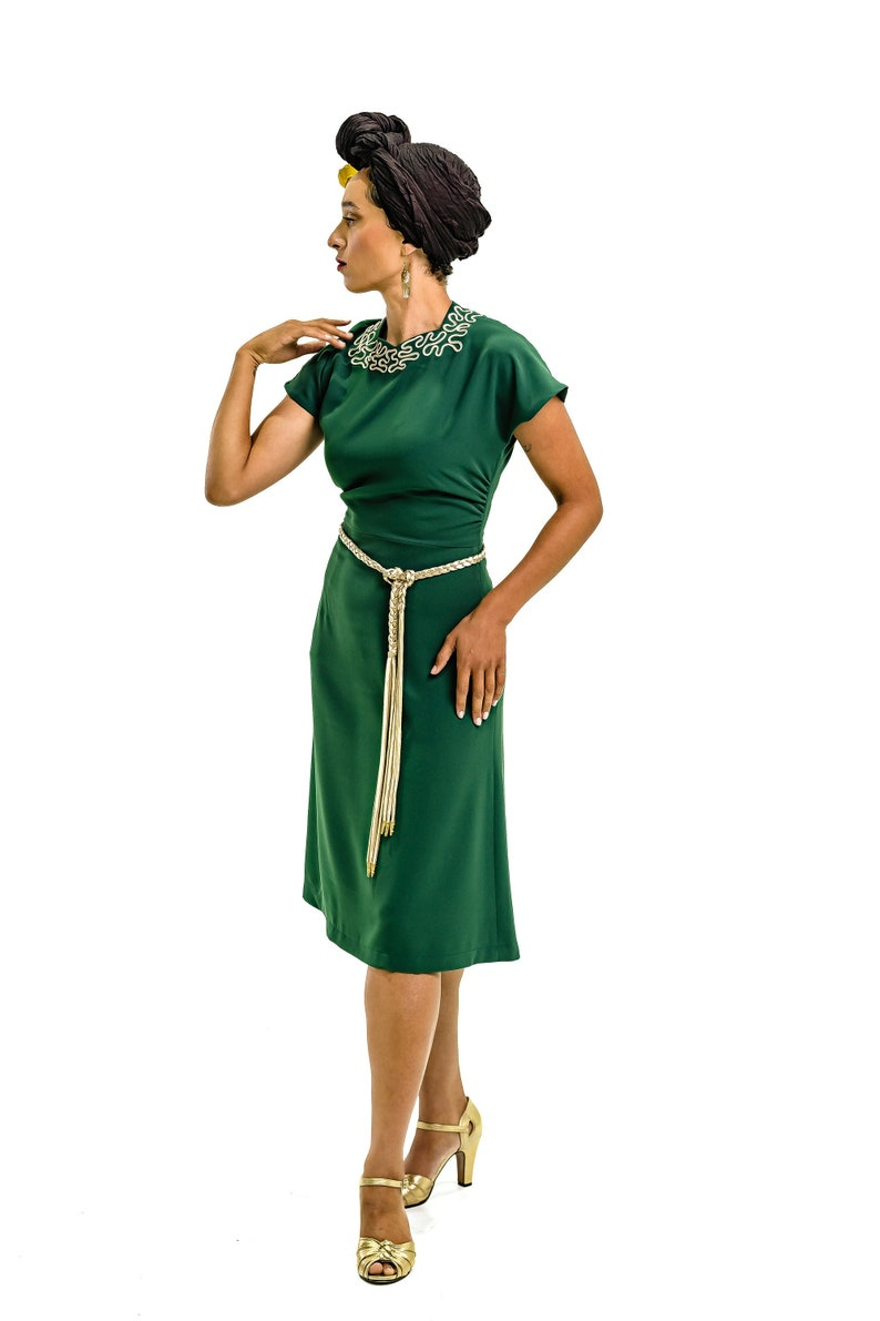 1940s Dresses | 40s Dress, Swing Dress Vintage 40s style dress in green with soutache neckline and braided belt size US 4 $184.00 AT vintagedancer.com