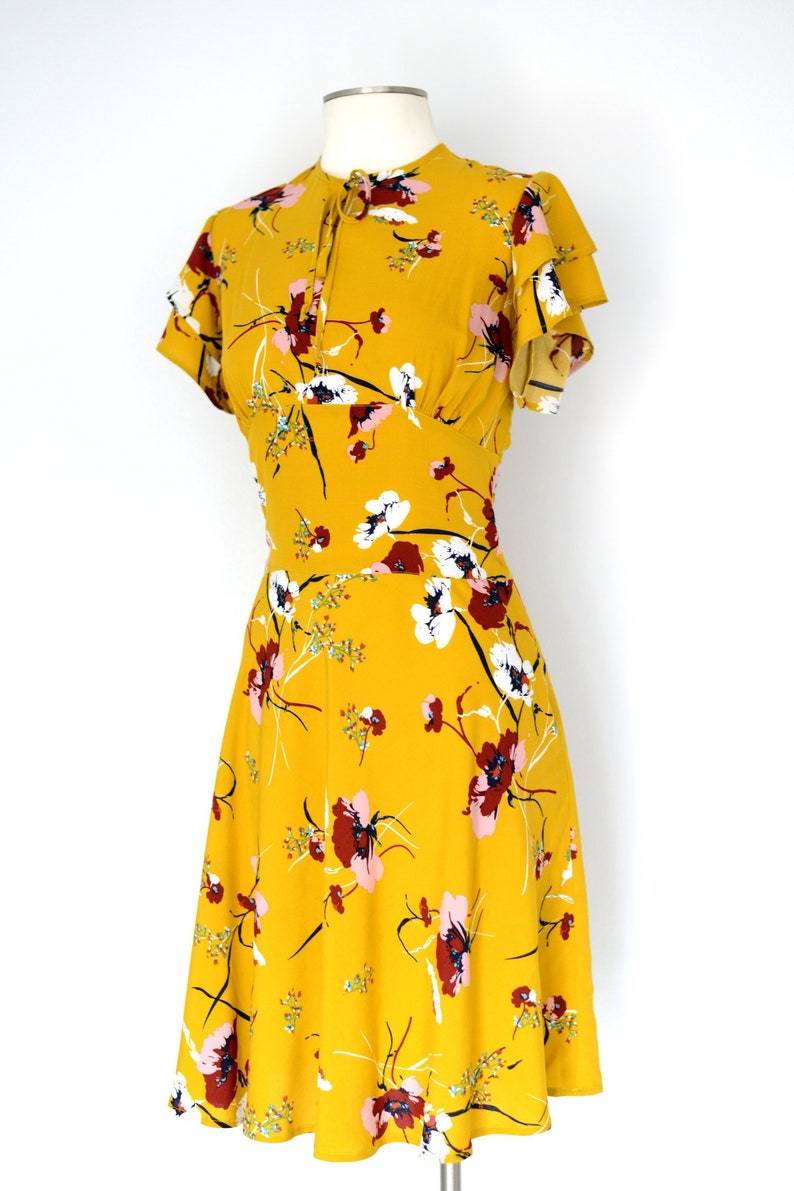 1930s Dresses | 30s Art Deco Dress Vintage 1930s style dress with flutter sleeves in mustard yellow or navy blue rayon sizes US 0-22 $174.00 AT vintagedancer.com