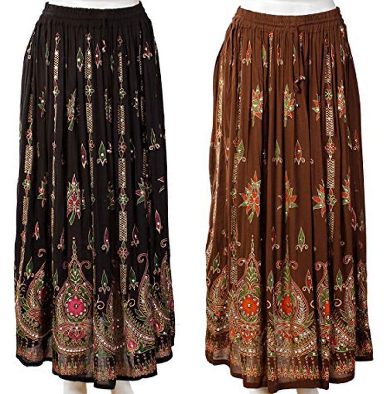 Women/'s Indian Sequin/'s Crinkle Broomstick Gypsy Long Skirt Boho Vtg Hippie Ethnic Free size