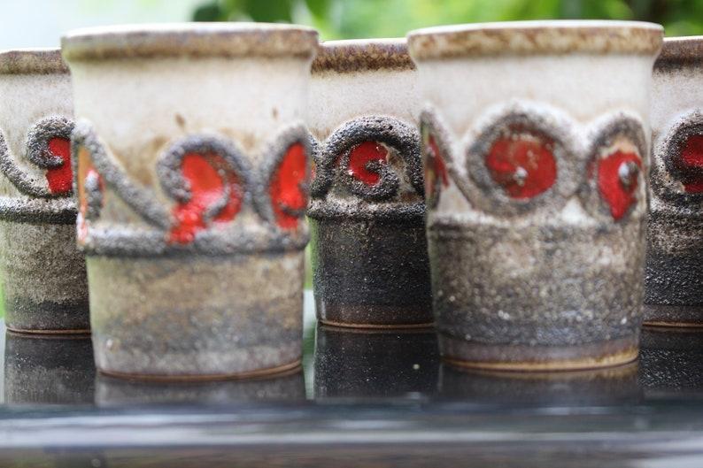 SET 6 VEB Strehla East German Fat Lava Ceramic Vase Form 1249