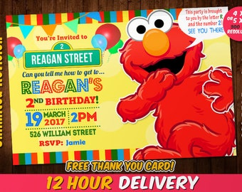 Elmo invitations Etsy