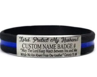 38cad20ee47 Police Officer Custom Bracelet with Name and Badge Number