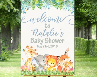animals baby shower welcome sign jungle welcome poster blue orange personalized print custom giraffe elephant fox welcome to shower signs
