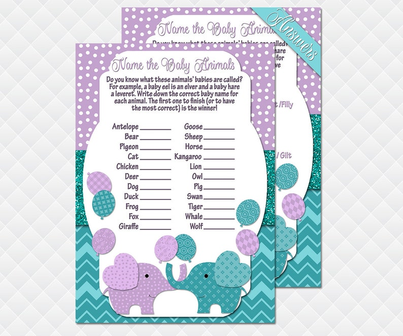 Elephant Game package baby shower purple teal activities for guests Bingo What/'s in Your Purse Quiz Celebrity Animals Pass the gift pack