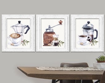 Coffee wall decor Coffee Poster But first Coffee art Kitchen watercolor decoration interior artwork Coffee prints set Coffee poster Gift
