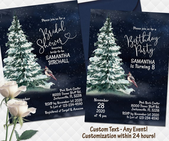 Baptism Sign Bridal Shower Blue Holiday Winter Trees and Snow Birthday Any Event! Welcome Sign Baby Holiday 1 Printed  Digital