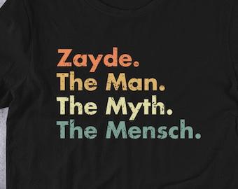 ab7ea3f2d Zayde The Man The Myth The Mensch Funny Grandpa Jewish T-Shirt - Hebrew  Israel
