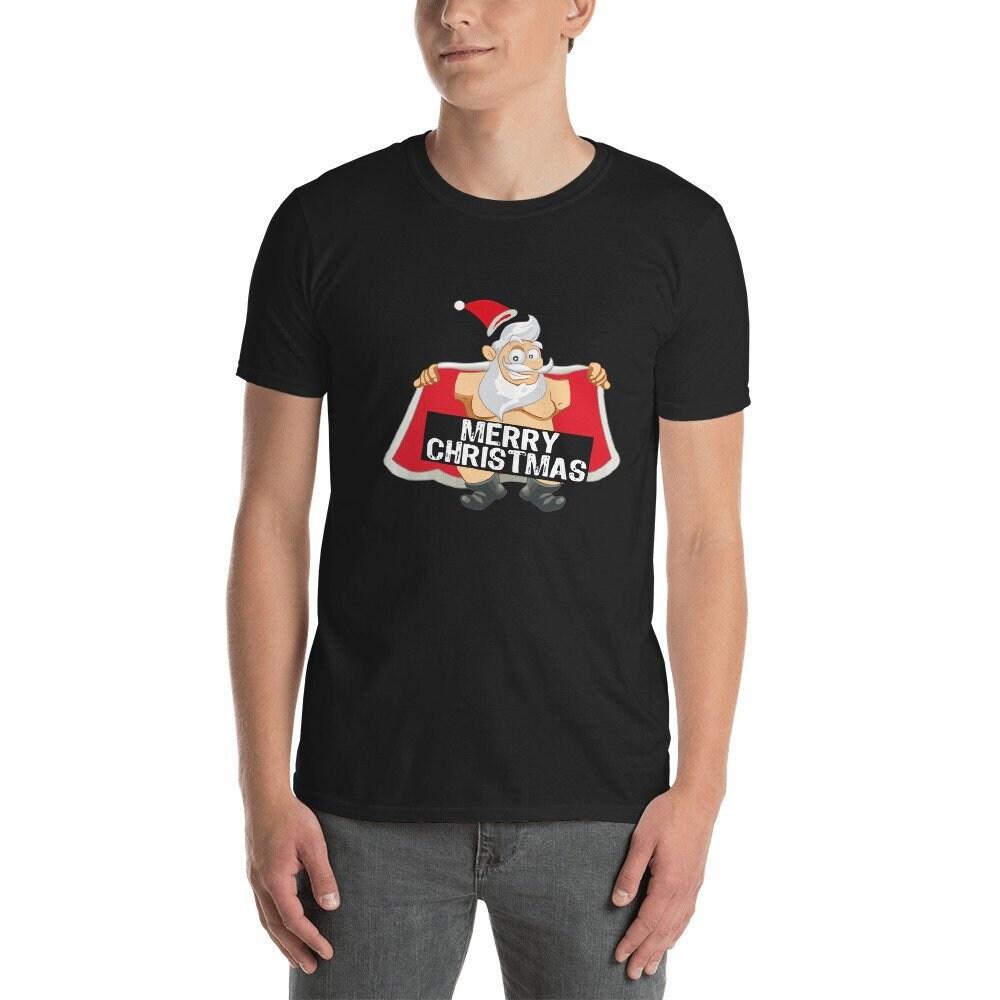 7ed184e9b1cb Père Noël vacances manches courtes T-Shirt unisexe-drôle mignon comme idée  cadeau cadeau