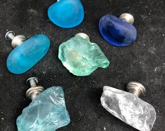 Sea glass knobs, ocean glass knobs, tumbled glass knobs, 1 glass knob, beach knobs, ocean knobs, nautical knobs, bath knobs, dresser knobs