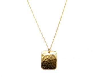 hammered dog tag pendant