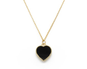 onyx heart pendant necklace