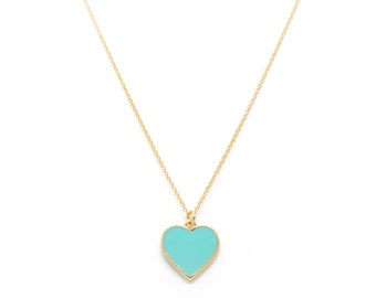 turquoise enamel heart pendant necklace