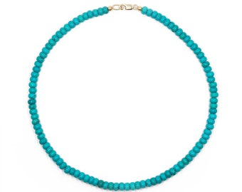 turquoise rondelle beaded necklace