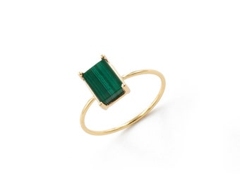 rectangular malachite ring