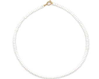white jade beaded necklace