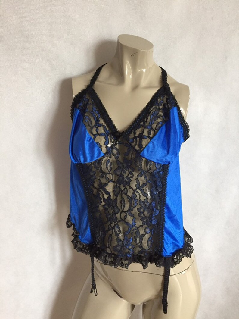 Cobalt lace corselette  camisole  top with lacy straps black lace size 3XLarge electric blue vintage American plus size lingerie