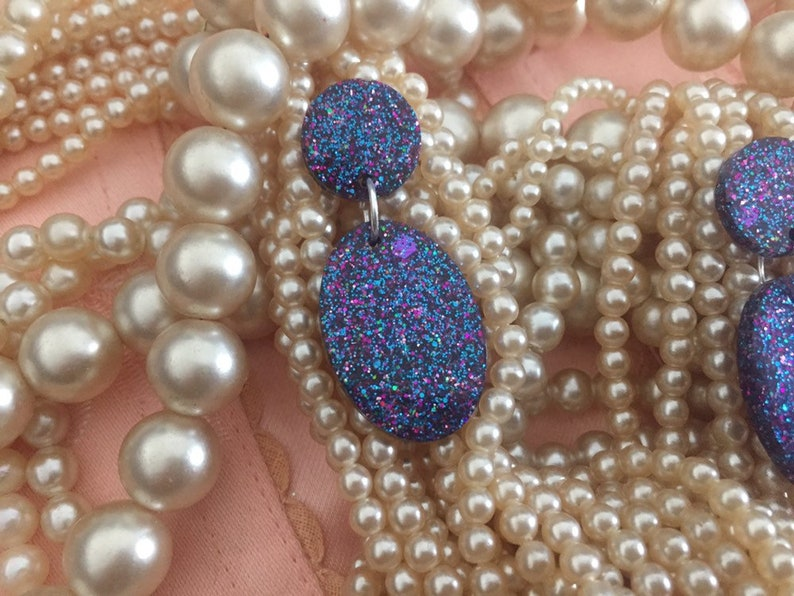 purple glitter fakelite bakelite 50s 60s pin up vintage rockabilly reproduction Midcentury modern inspired geometric stud earrings