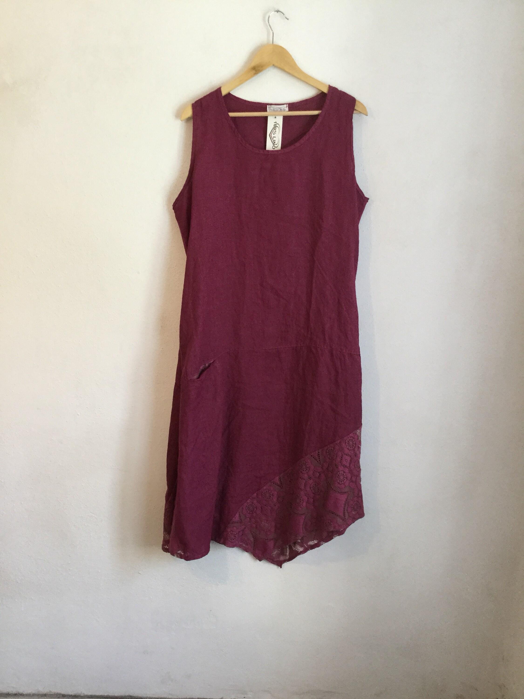 b9476680f56 Linen and lace italian curvy dress abito in lino e pizzo