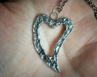 Silver Heart Necklace / Textured Heart Necklace / Heart Pendant / Heart Jewellery