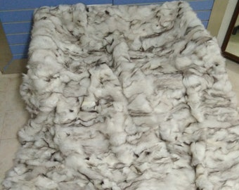 Natural White Fox Fur Throw 100% Real Fox Fur Bedspread / Blanket King Size
