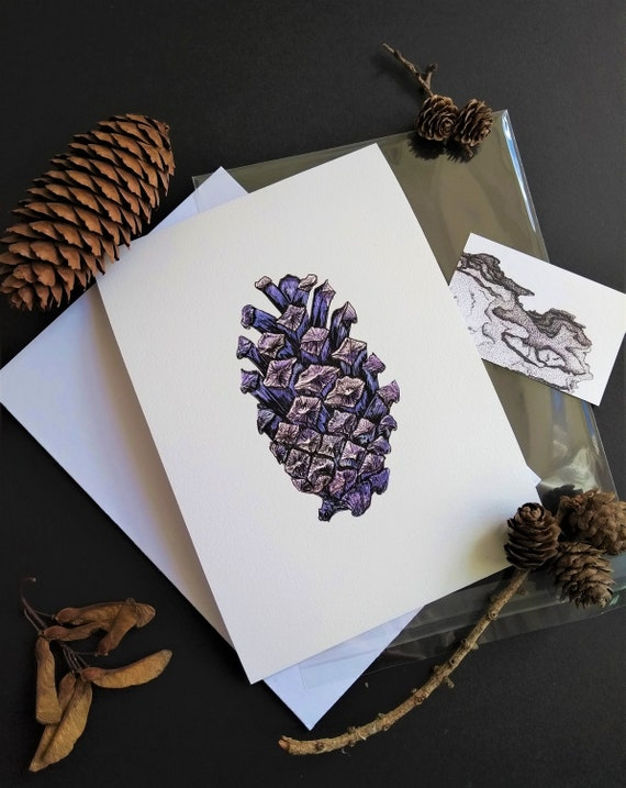 Giclee print of an original drawing Pine cones in snow