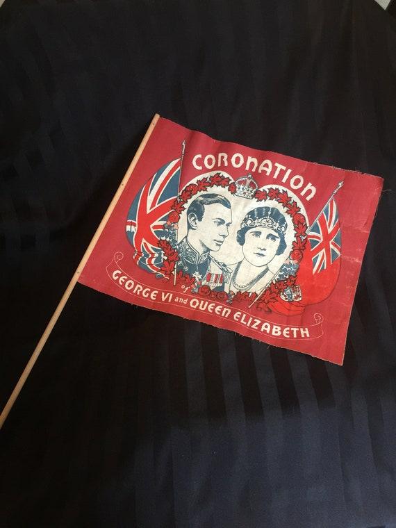 rare king george vi 1937 coronation flag  etsy