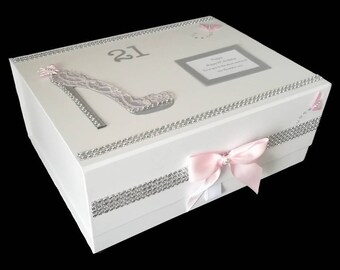 21st Birthday Gift Personalised Large Keepsake Memory Box Grey And Pink For All Ages 16th 18th 30th 40th 50th Etc Unique Her