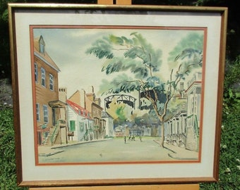 Watercolor Painting of Savannah Georgia (signed & dated 1953)