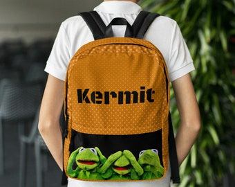 Kermit The Frog Water Resistant Backpack with Pockets | Best for Daily Use or Sports Activities