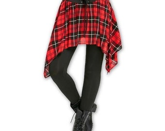Asymmetric High Waist Plaid Lace Up Leggings Black and Red Checkered Skirted Leggings