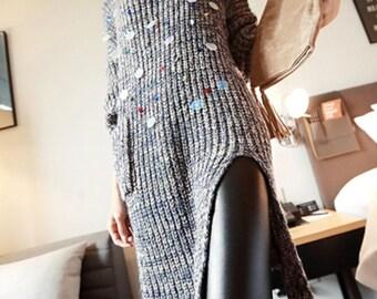 Handmade Turtleneck Sequin Pullover