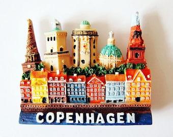 Handmade 3D Painted Fridge Magnet   Copenhagen Denmark   Unique Copenhagen Souvenir
