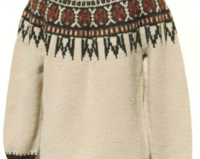 Vintage Danish Handmade Fair Isle Pullover Sweater Made in Denmark for B Altman M-L