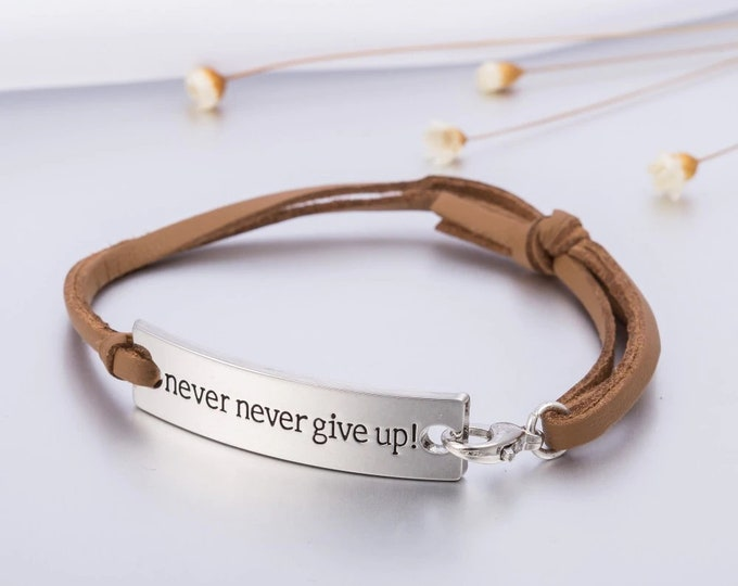 Leather Viking Bracelet Never Give Up Engraved Inspirational Quote Bangle for Women  Jewelry Gift