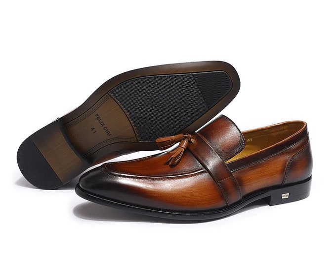 Handmade Painted Mens Shoes   Genuine Calf Leather with Pointed Toe Loafers