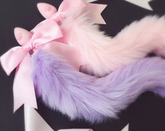 100% Handmade Lovely Japanese Soft Fox Tail Bow Silicone Butt Anal Plug Erotic Cosplay Accessories Adult Sex Toys for Couples