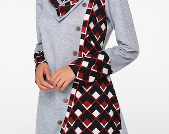 Tartan Sweatshirt With Scarf Collar | Full SLeeve Lenghts and Plaid