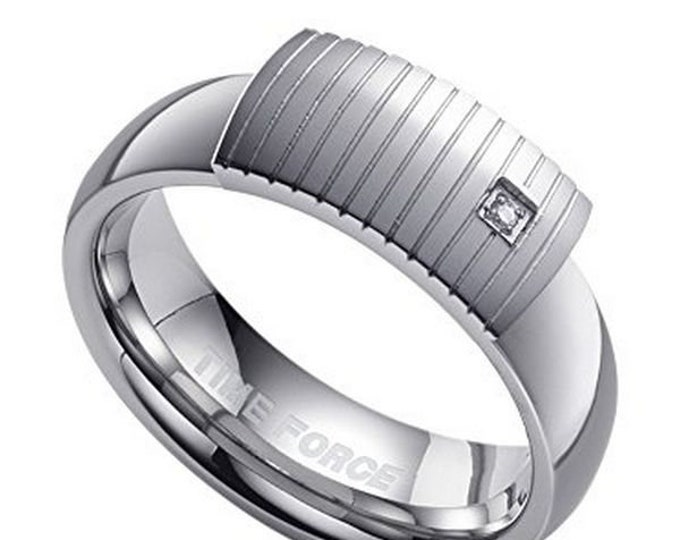 Top Quality Inset Square Zirconia Stainless Steel Ring