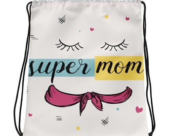 Super Mom Drawstring Bag | Vibrant Prints and a Sporty Style