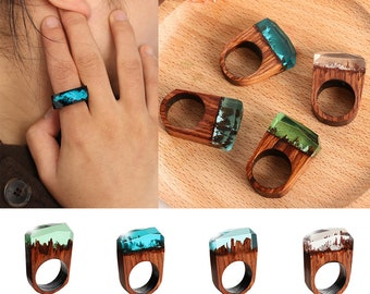 Handmade Wood Resin Ring | Magnificent Fantasy Secret Magic Landscape | Unisex Jewelry