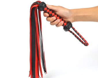 Adult Spanking Leather Flogger With Abundant Tail  | Handmade Flirting Whip | PU Leather Handle|  Erotic Sex Toys for Couple