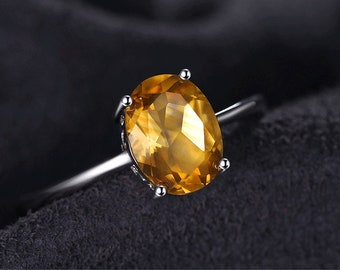 Natural Citrine Ring | Birthstone Solitaire Ring Genuine 925 Sterling Silver | New Fine Jewelry