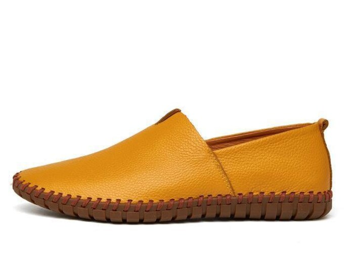 Handmade Slip On Moccasins   Breathable   Solid Genuine Leather   Driving Moccasin Men