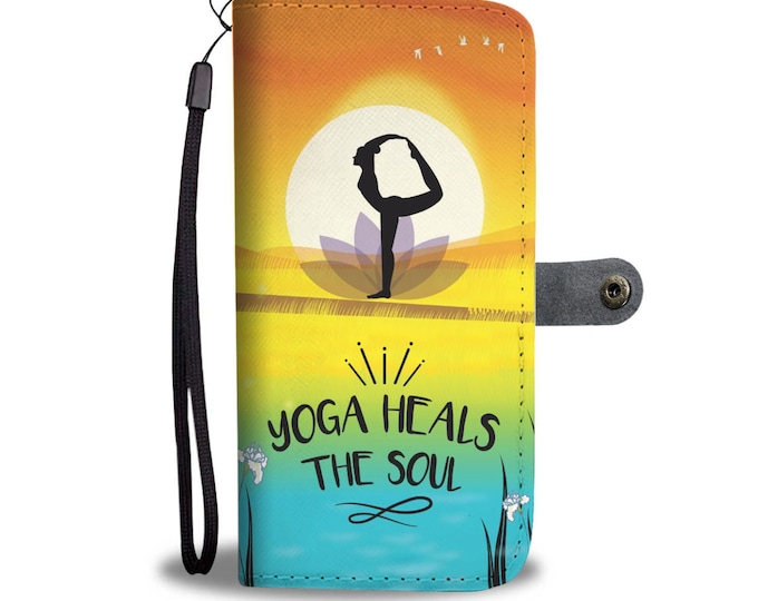 Wallet Case Yoga Heals The Soul  Unique Limited Edition Card, Cash ID Slots All Smartphones Compatible