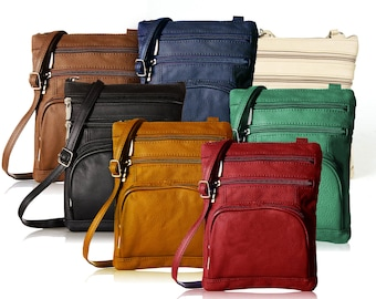 Leather Organizer Crossbody Bag - Assorted Colors